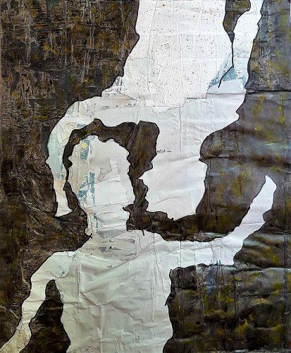 Acrylique sur revers de papier urbain monté sur châssis - Format 73x60cm - 250 €