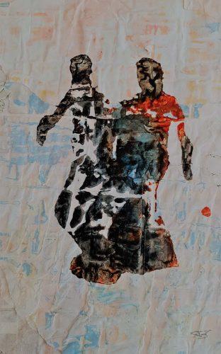 6 - Pas de deux - Acrylique sur revers d'affichage public - 21 X 30 cm. - 20 €
