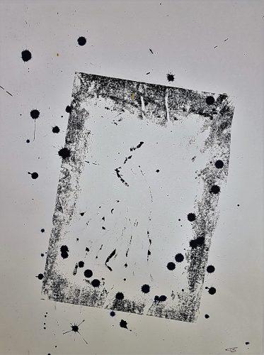 Acrylique sur papier de macule d'impression - Format 70 X 50 cm. - 250 €