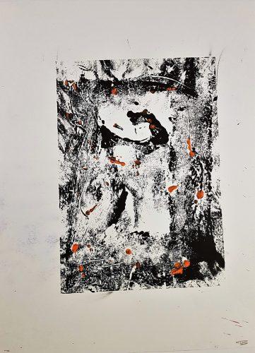 73 - Acrylique sur papier de macule d'impression - Format 70 X 50 cm. - 250 €