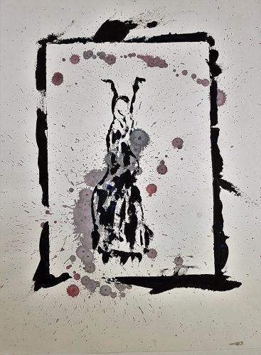 76 - Acrylique sur papier de macule d'impression - Format 70 X 50 cm. - 250 €