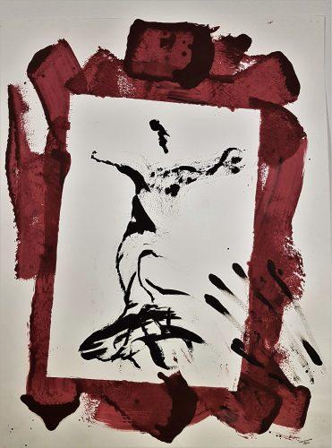 77 - Acrylique sur papier de macule d'impression - Format 70 X 50 cm. - 250 €