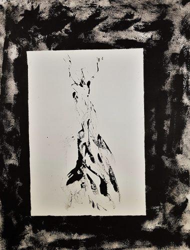 78 - Acrylique sur papier de macule d'impression - Format 70 X 50 cm. - 250 €
