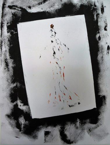 79 - Acrylique sur papier de macule d'impression - Format 70 X 50 cm. - 250 €