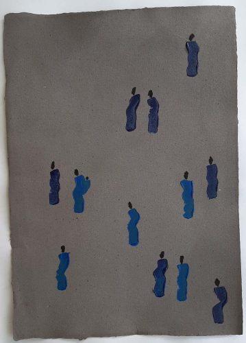 8 - Kekere Ohun Kiko - Acrylique sur papier recyclé artisanal - Dim. 45 X 32 cm. - 30 €
