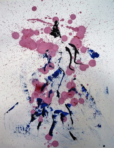 80 - Acrylique sur papier de macule d'impression - Format 70 X 50 cm. - Collection privée