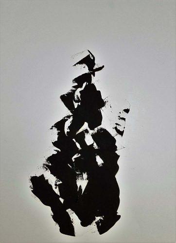83 - Huile sur papier dessin d'impression - Format 65 X 50 cm - 250 €