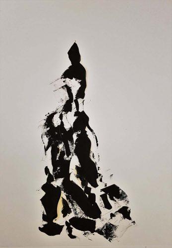 85 - Huile sur papier dessin d'impression - Format 65 X 50 cm - 250 €