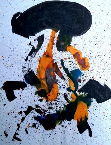 254 - Acrylique sur papier de macule d'impression - Format 70 X 50 cm. - 250 €